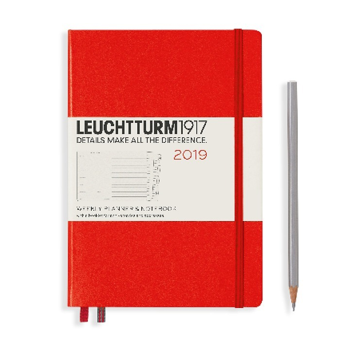 Weekly Planner + Notebook Medium (A5) 2019 + extra booklet,red, English