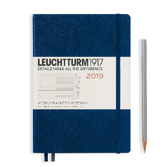 Weekly Planner + Notebook Medium (A5) 2019 + extra booklet,navy, English