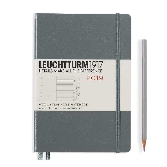 Weekly Planner + Notebook Medium (A5) 2019 + extra booklet,anthracite, English