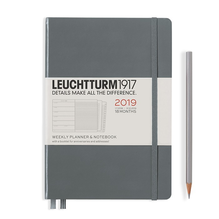 Weekly Planner + Noteb.Medium(A5) 2019 + extra booklet, 18 months, anthracite, English