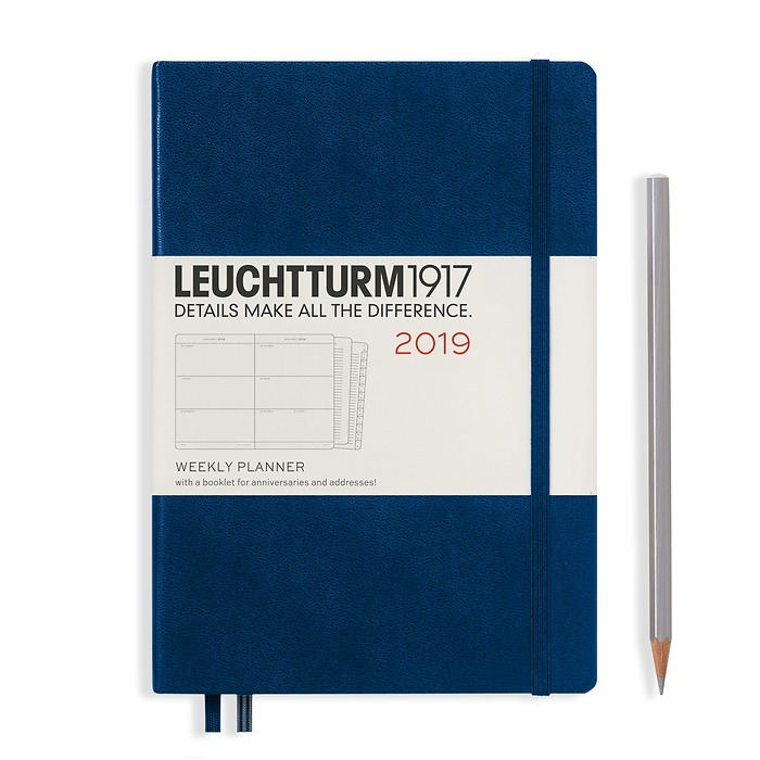Weekly Planner Medium (A5) 2019 + extra booklet, navy, English