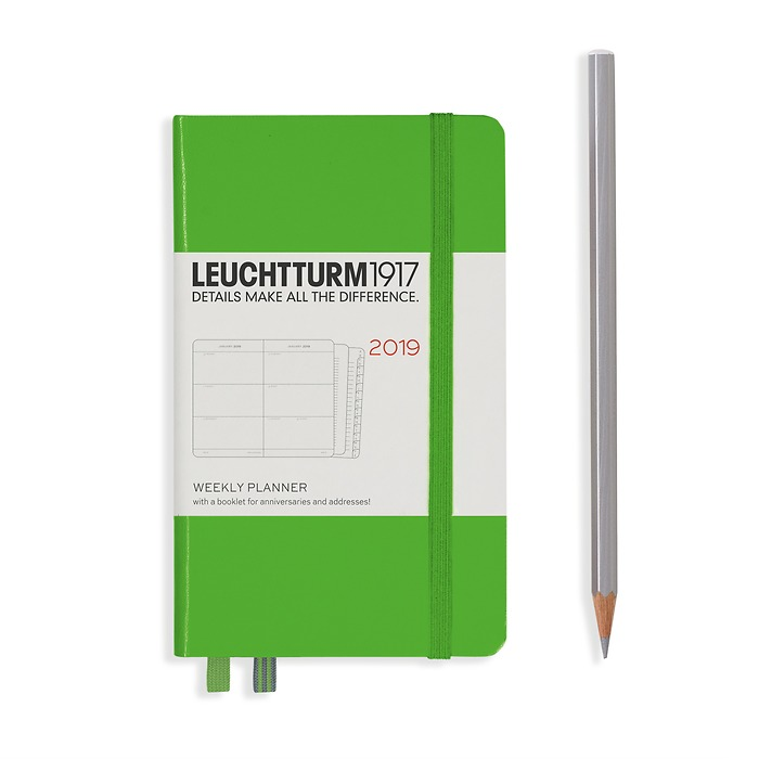 Weekly Planner Pocket (A6) 2018 +extra booklet, Fresh Green, English