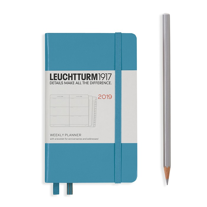 Weekly Planner Pocket (A6) 2019 +extra booklet, Nordic Blue,h
