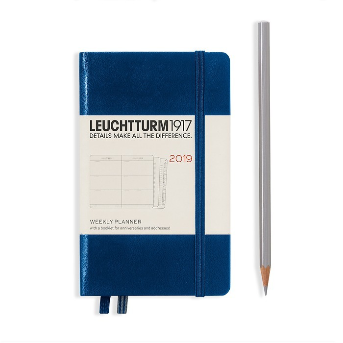 Weekly Planner Pocket (A6) 2019 +extra booklet, navy, English