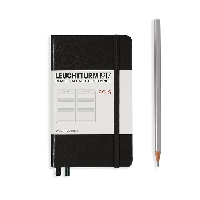 Daily Planner 12 Months Pocket (A6) 2019 black English
