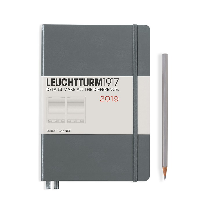 Daily Planner 12 Months Medium (A5) 2019, anthracite, English