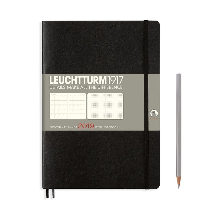 Monthly Planner 16 months, Softcover, Composition (B5) 2019, black, English