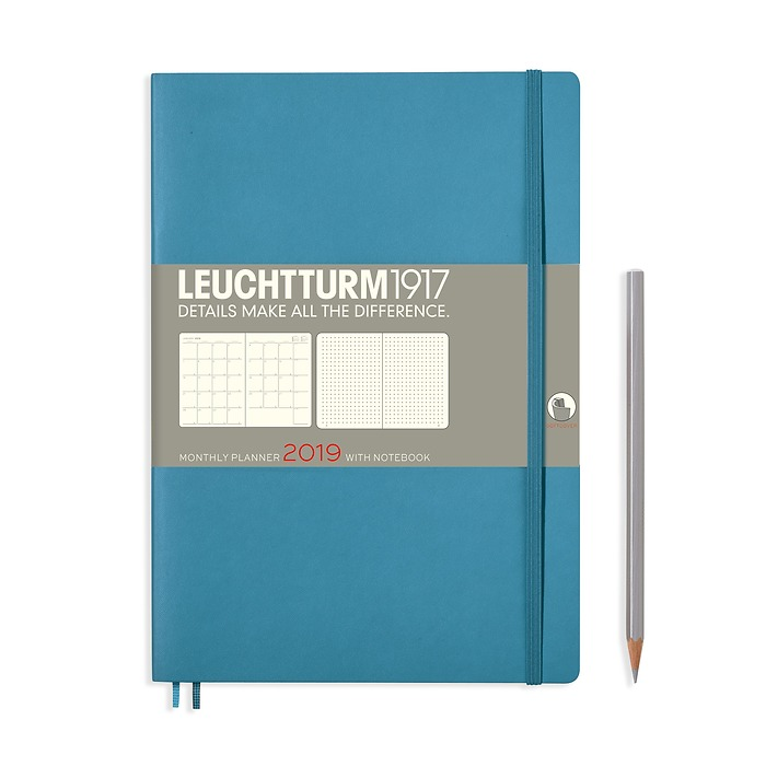 Monthly Planner 16 months, Softcover, Composition (B5) 2019, Nordic Blue, English