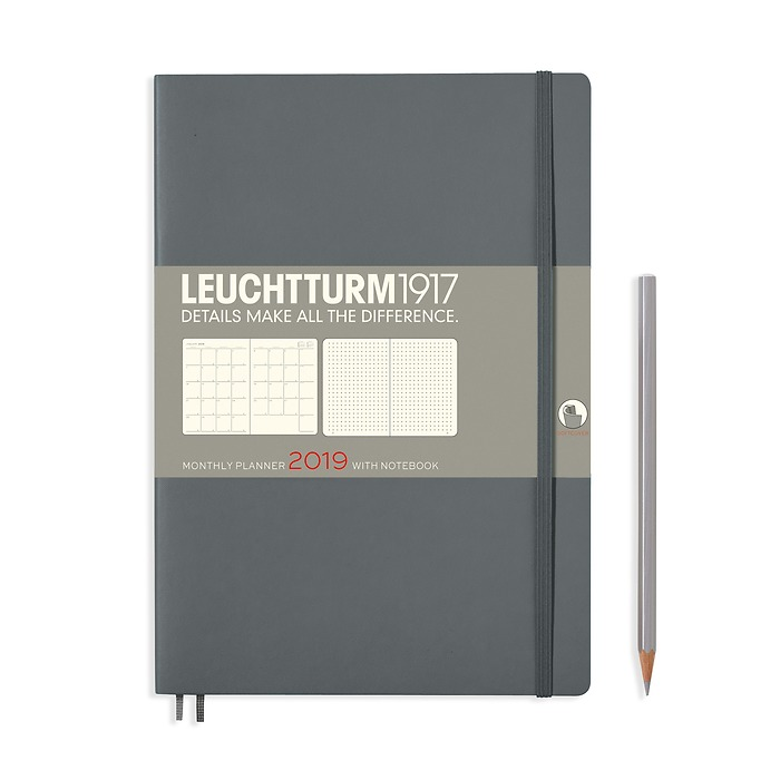 Monthly Planner 16 months, Softcover, Composition (B5) 2019, anthracite, English