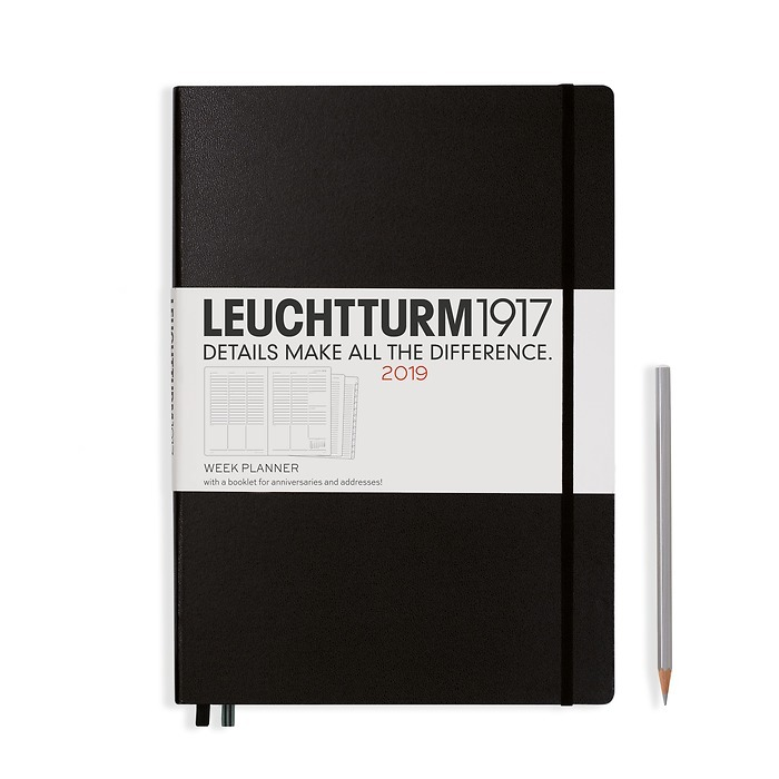 Week Planner 12 Months Master(A4+) 2019 + extra booklet, black, English