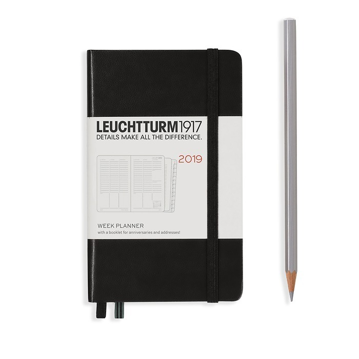 Week Planner 12 Months Pocket(A6) 2019 + extra booklet, blck, English