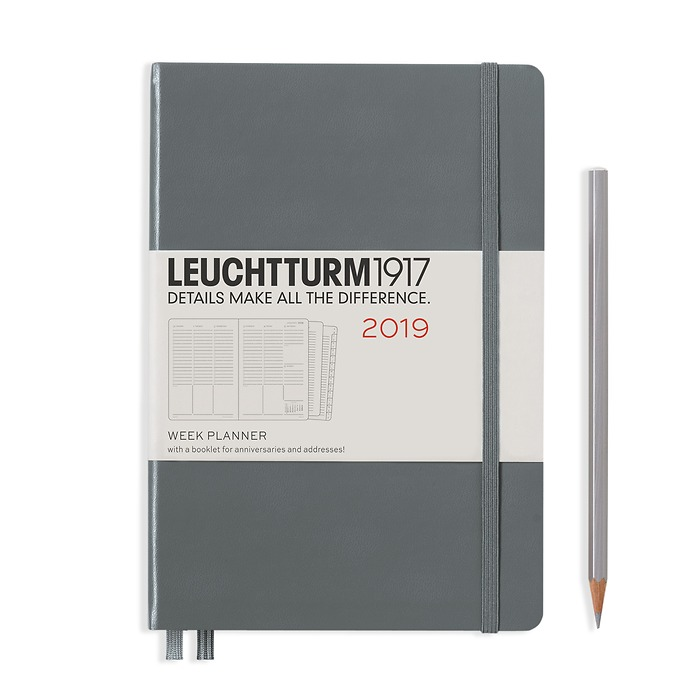 Week Planner 12 Months Medium(A5) 2019 + extra booklet, Anthracite, English