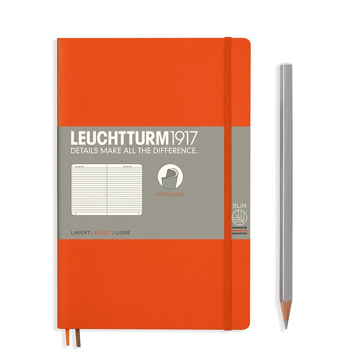 Notebook Paperback (B6+) ruled, softcover, 123 numbered pages, orange