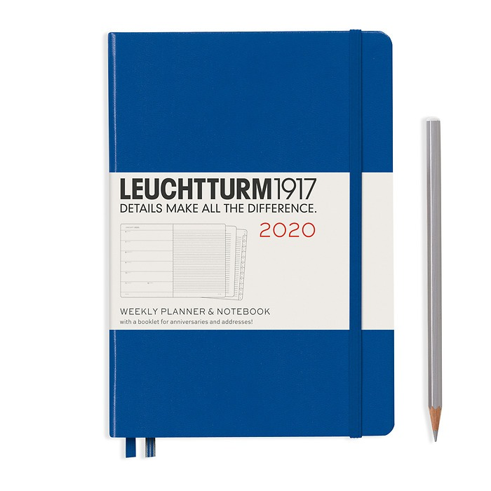 Weekly Planner & Notebook Medium (A5) 2020, with extra booklet, Royal Blue, English