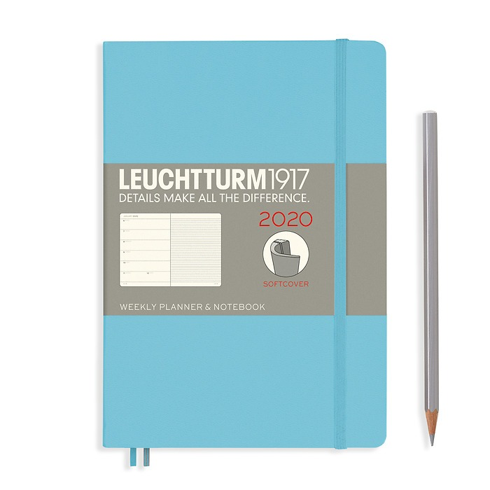 Weekly Planner & Notebook Softcover Medium (A5) 2020, Ice Blue, English