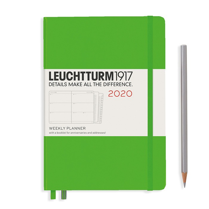 Weekly Planner Medium (A5) 2020, with extra booklet, Fresh Green, English
