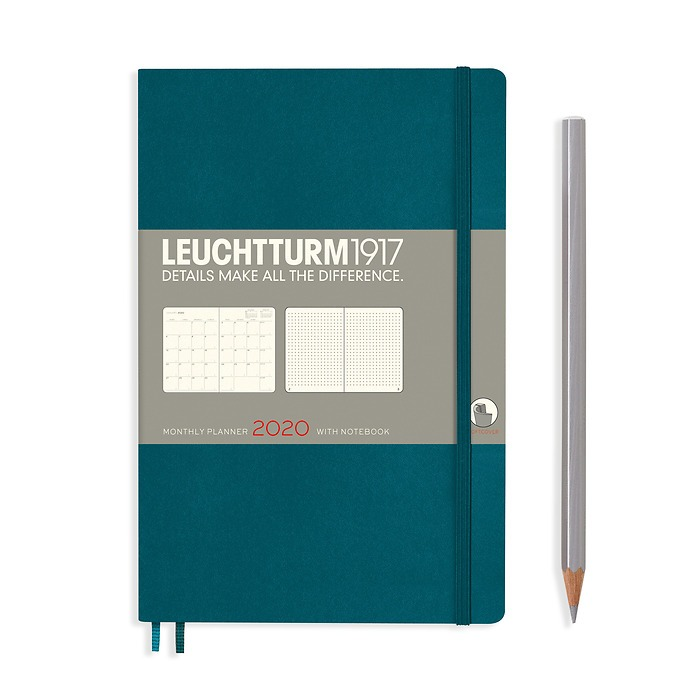 Monthly Planner & Notebook Paperback (B6+) 2020, Pacific Green, English