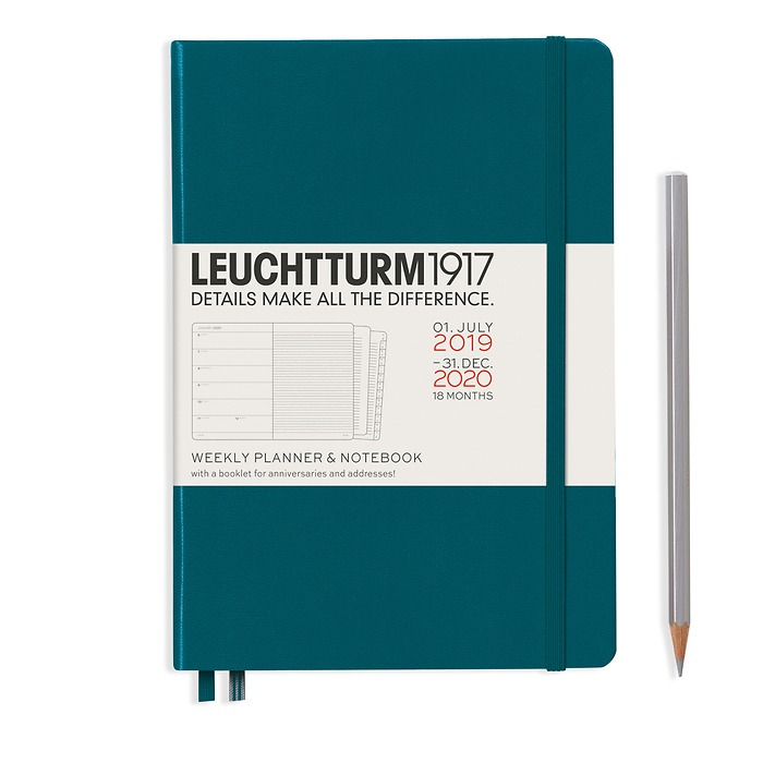 Weekly Planner & Notebook Medium (A5) 2020,with extra book, 18 Mon,Pacific Green,English