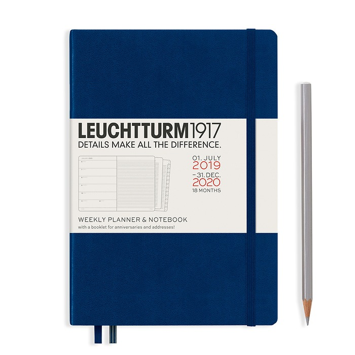 Weekly Planner & Notebook Medium (A5) 2020, with extra booklet, 18 Months, Navy, English