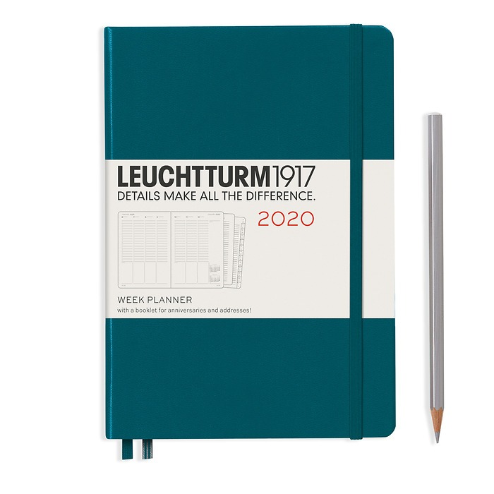 Academic Week Planner Medium (A5) 2020,with extra booklet,18 Months, Pacific Green,English