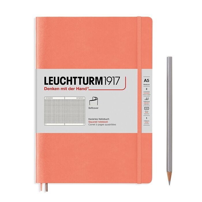 Notebook Medium (A5), Softcover, 123 numbered pages, Bellini, squared