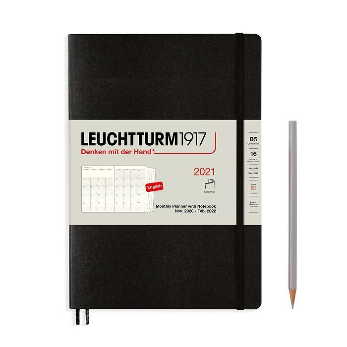 Monthly Planner & Notebook Composition (B5) 2021, 16 Months, Softcover, Black, English