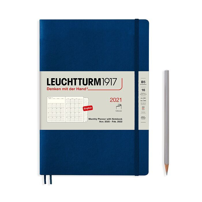 Monthly Planner & Notebook Composition (B5) 2021, 16 Months, Softcover, Navy, English