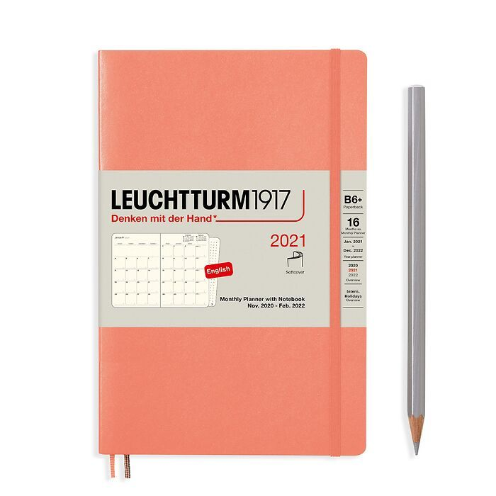 Monthly Planner & Notebook Paperback (B6+) 2021, 16 Months,  Softcover, Bellini, English