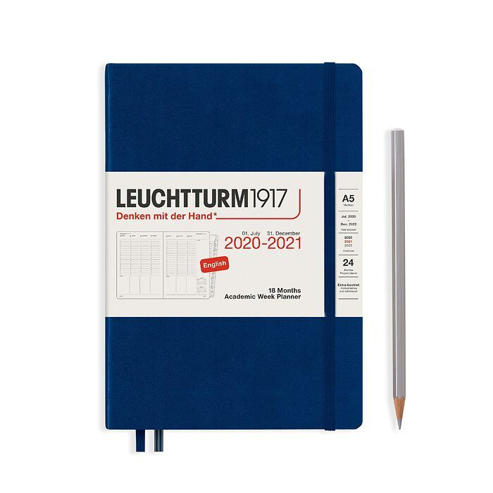 Academic Week Planner Medium (A5) 2021, with booklet, 18 Months, Navy, English