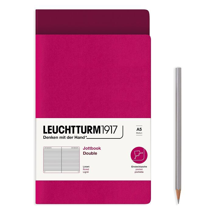 Jottbook (A5), 59 numbered pages, ruled, Port Red and Berry, Pack of 2