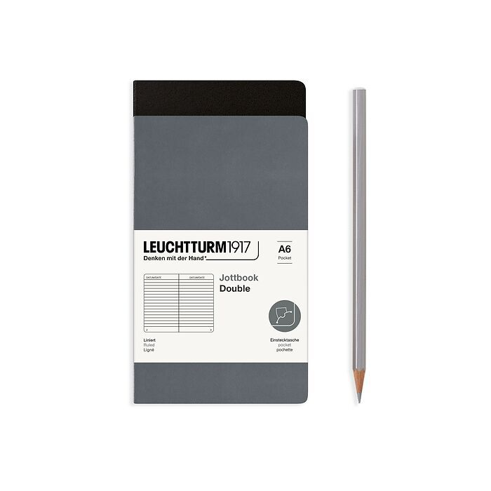 Jottbook (A6), 59 numbered pages, ruled, Black and Anthracite, Pack of 2
