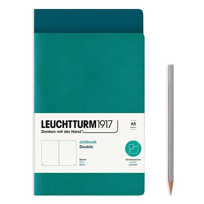 Jottbook (A5), 59 numbered pages, plain, Pacific Green and Emerald, Pack of 2