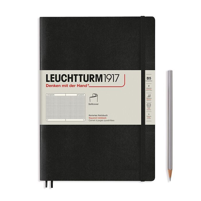 Notebook Composition (B5), Softcover, 123 numbered pages, Black, squared