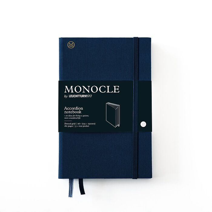 Monocle Wallet B6+, Hardcover, 192 numbered pages, Navy, dotted