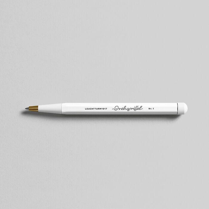 Drehgriffel Nr. 1, White - Gelpen with black ink