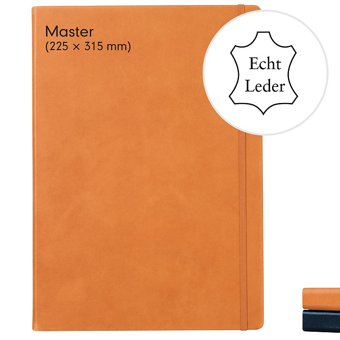 Genuine leather Notebook Master (A4+), Hardcover, 233 numbered pages