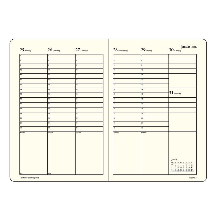 Week Planner + extra booklet for anniversaries and addresses, Columns